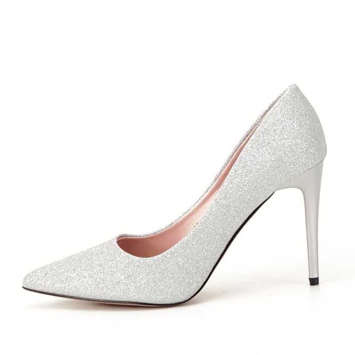 Pantofi argintii cu toc Liza 0