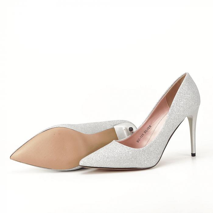 Pantofi argintii cu toc Liza 7