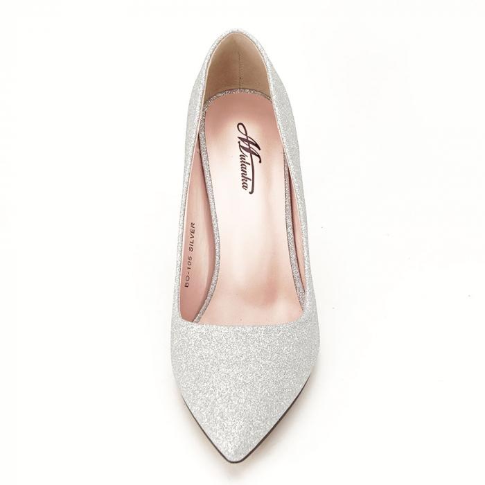 Pantofi argintii cu toc Liza 6