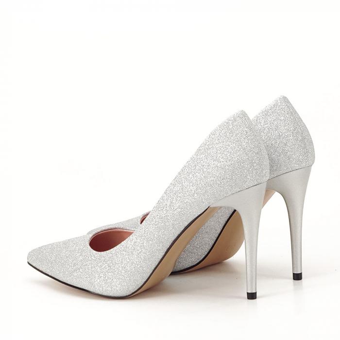 Pantofi argintii cu toc Liza 1