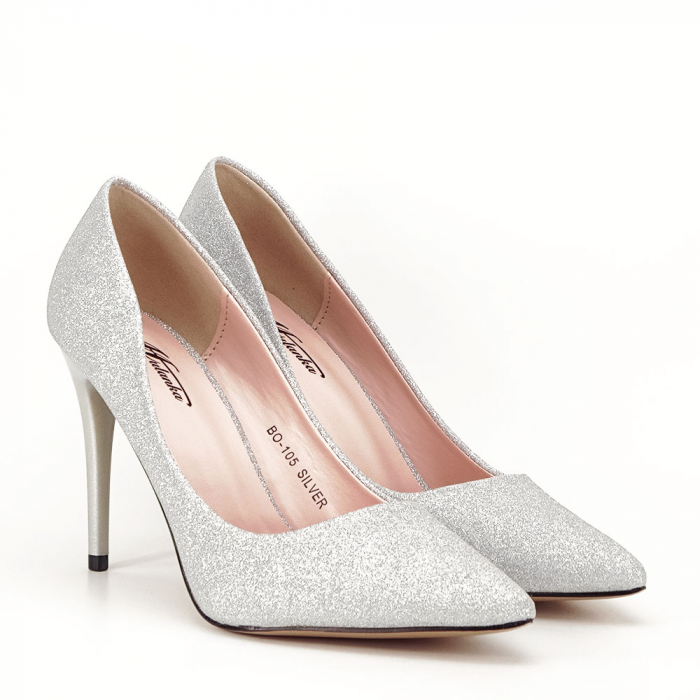 Pantofi argintii cu toc Liza 2