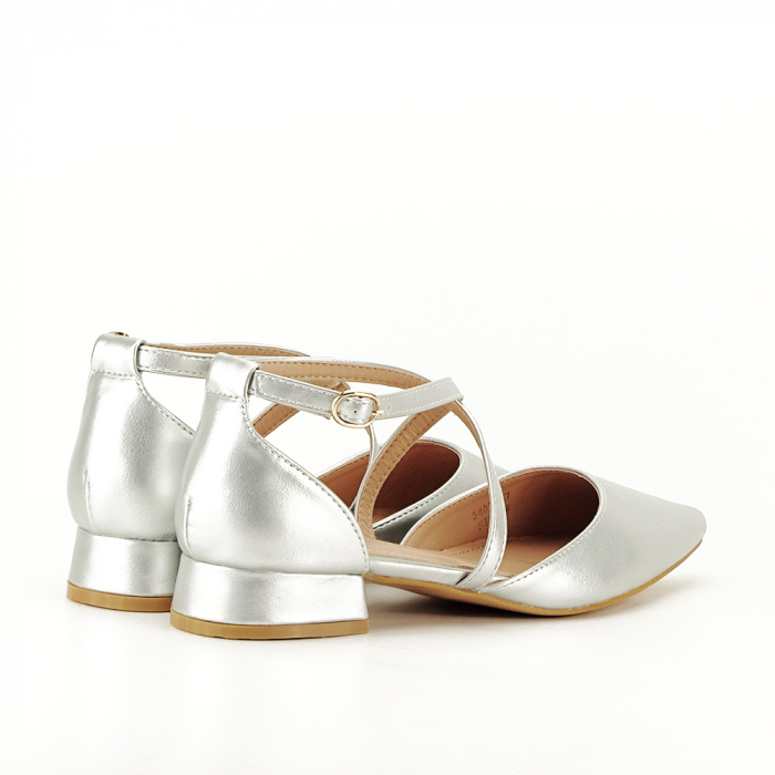 Pantofi argintii cu toc mic Carmen 4