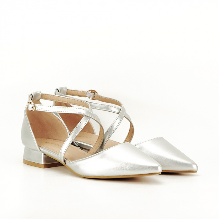 Pantofi argintii cu toc mic Carmen 1