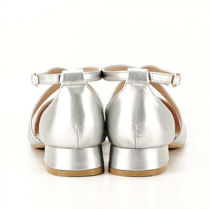 Pantofi argintii cu toc mic Carmen 5