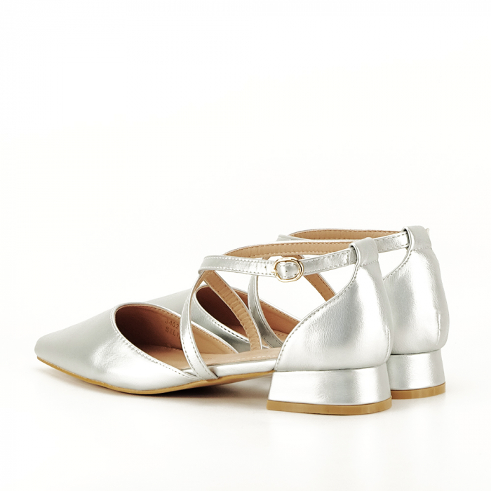 Pantofi argintii cu toc mic Carmen 7