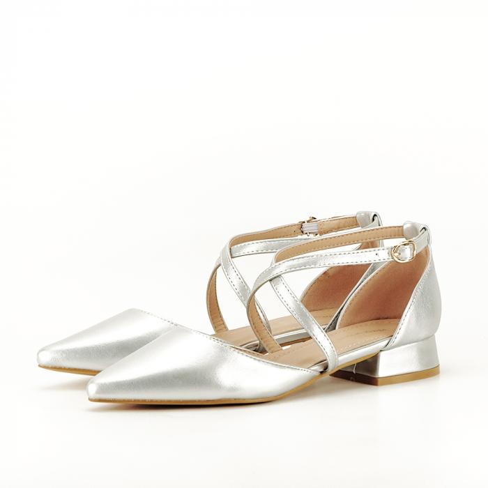 Pantofi argintii cu toc mic Carmen 0