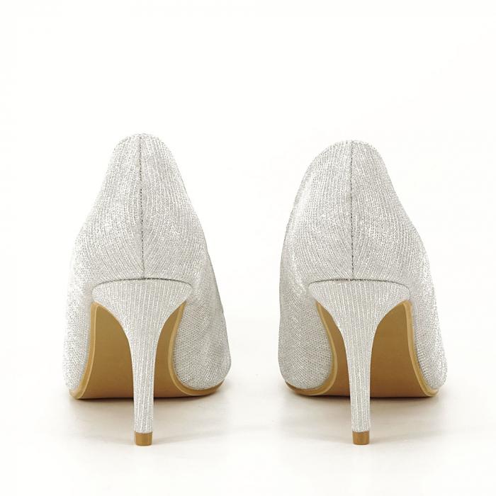 Pantofi argintii cu toc mic Oana [3]