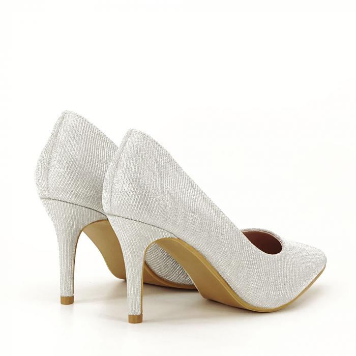 Pantofi argintii cu toc mic Oana [1]