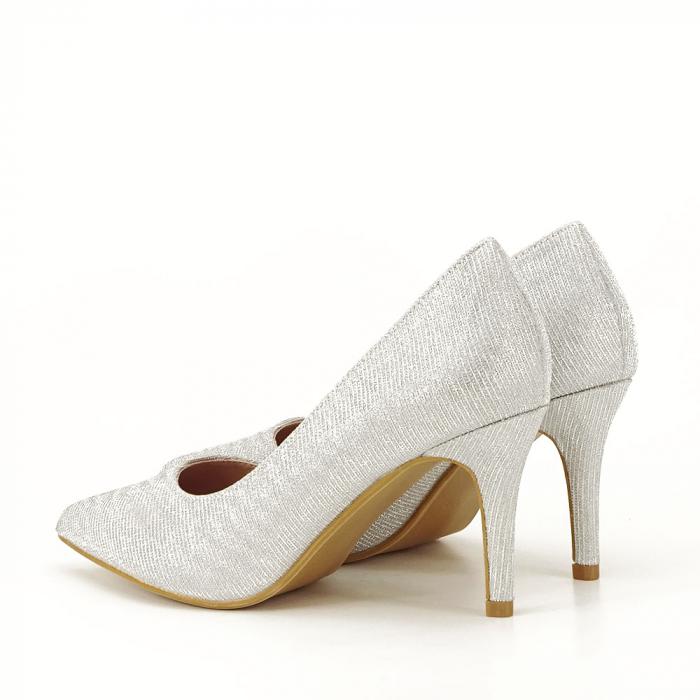 Pantofi argintii cu toc mic Oana [7]