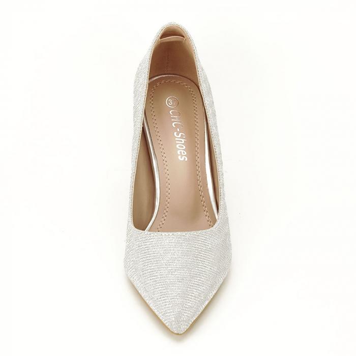 Pantofi argintii cu toc mic Oana [6]