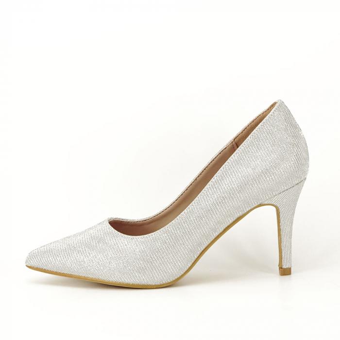 Pantofi argintii cu toc mic Oana [0]