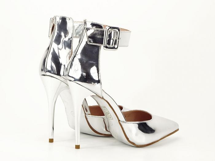 Pantofi argintii cu toc inalt Calista 3