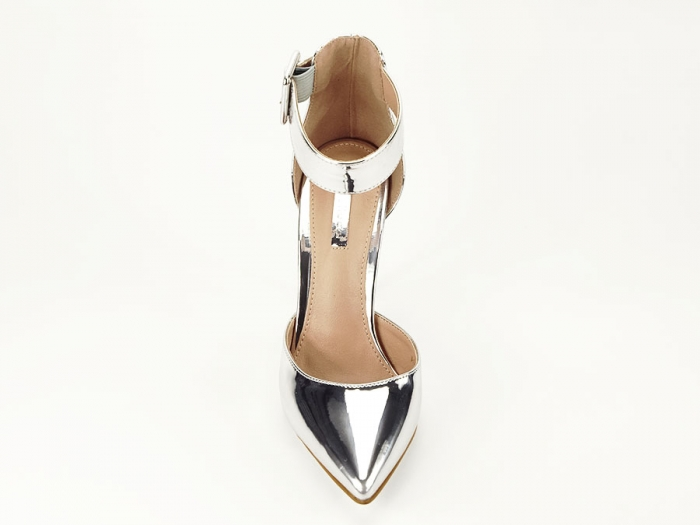 Pantofi argintii cu toc inalt Calista 4