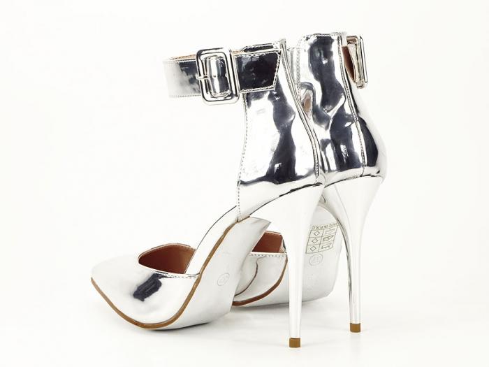Pantofi argintii cu toc inalt Calista 1