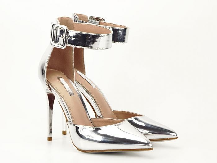 Pantofi argintii cu toc inalt Calista 2