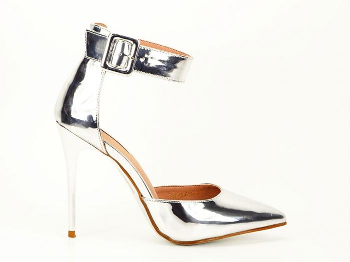 Pantofi argintii cu toc inalt Calista 0