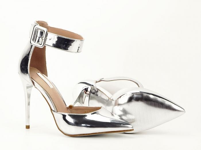 Pantofi argintii cu toc inalt Calista 5