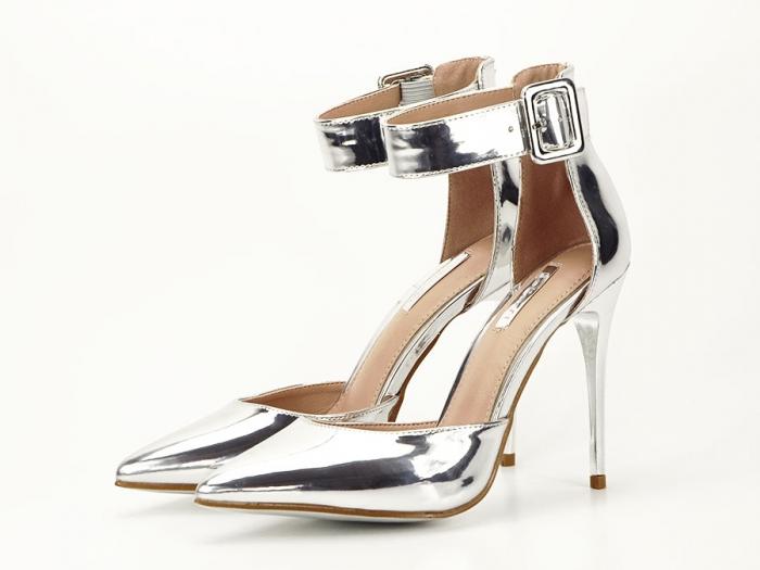 Pantofi argintii cu toc inalt Calista 6