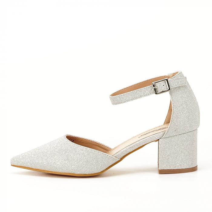 Pantofi argintii decupati lateral Casandra [0]