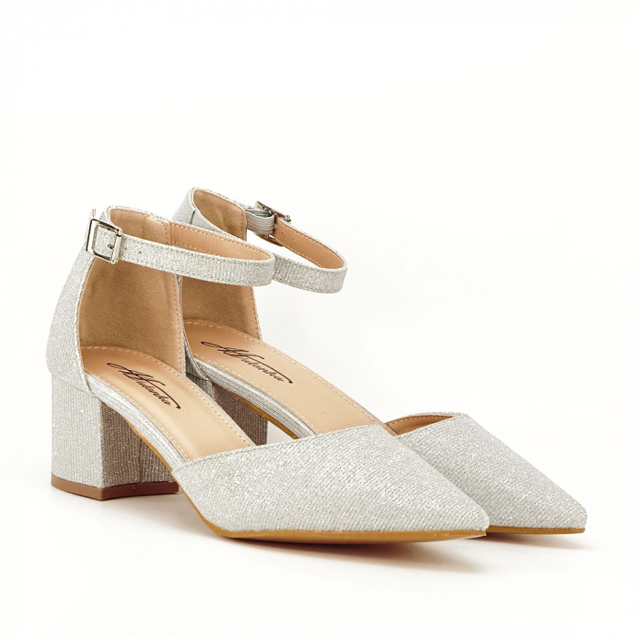 Pantofi argintii decupati lateral Casandra [6]