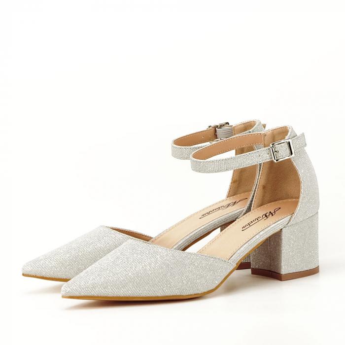 Pantofi argintii decupati lateral Casandra [1]