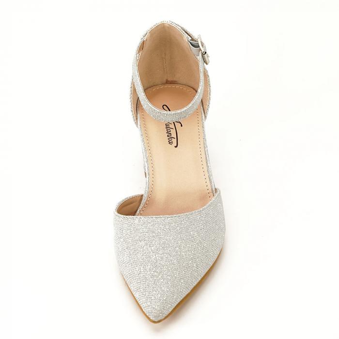 Pantofi argintii decupati lateral Casandra [3]