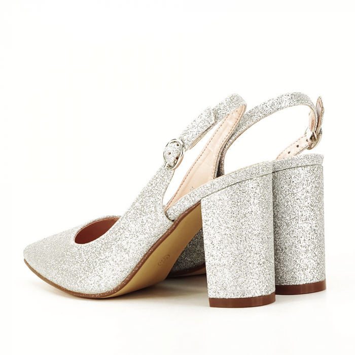 Pantofi argintii decupati Pamela [4]