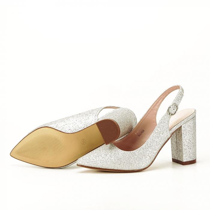 Pantofi argintii decupati Pamela [5]