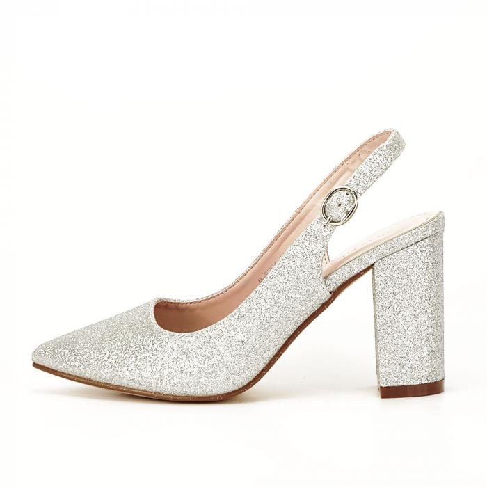 Pantofi argintii decupati Pamela [0]