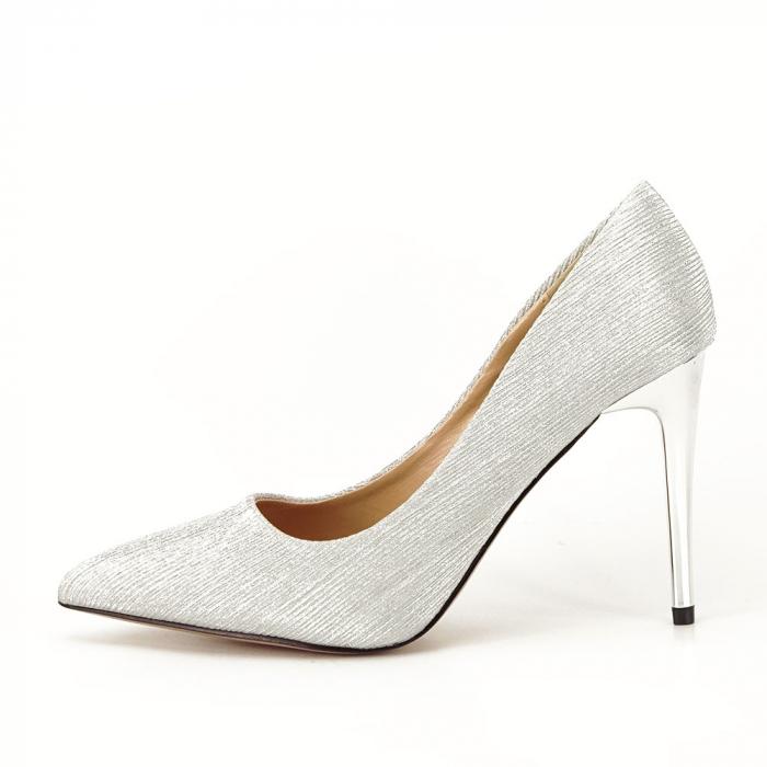 Pantofi argintii eleganti Nina