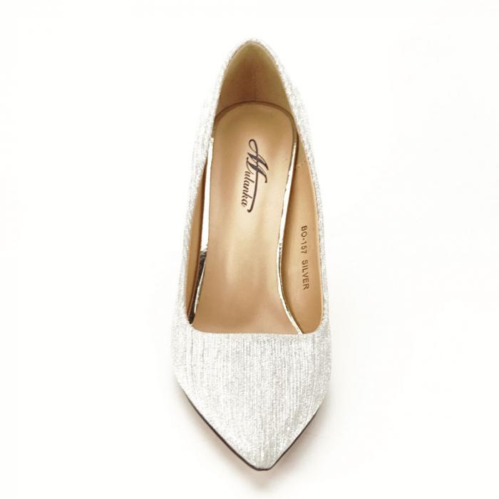 Pantofi argintii eleganti Nina 5