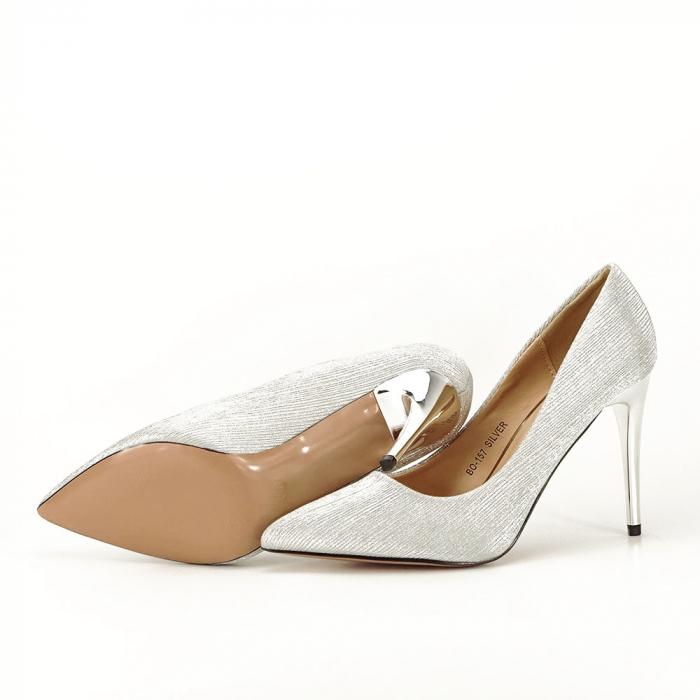 Pantofi argintii eleganti Nina 4