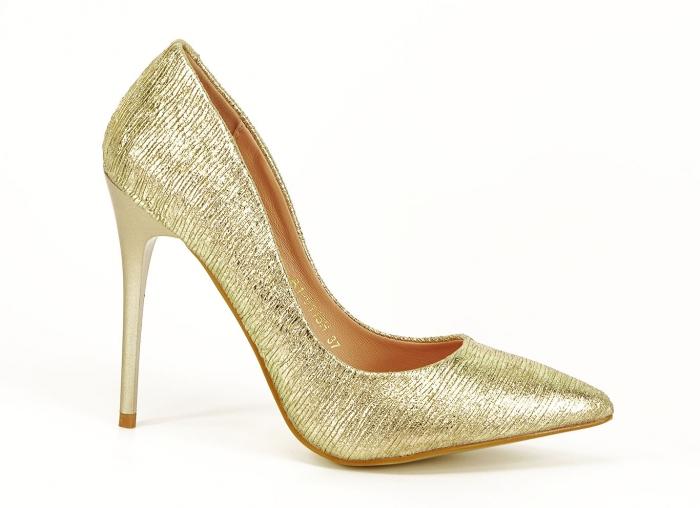 Pantofi eleganti aurii stiletto cu toc foarte inalt Ingrid 0