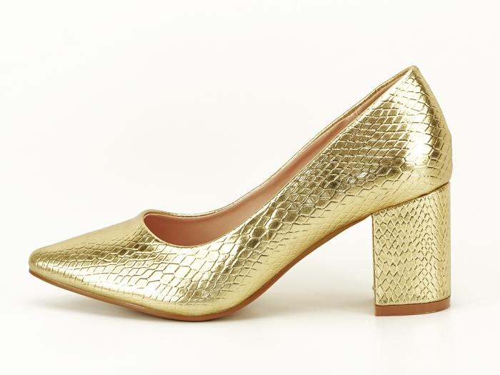 Pantofi aurii cu imprimeu de sarpe Ami 0