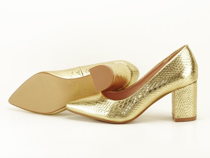 Pantofi aurii cu imprimeu de sarpe Ami 1