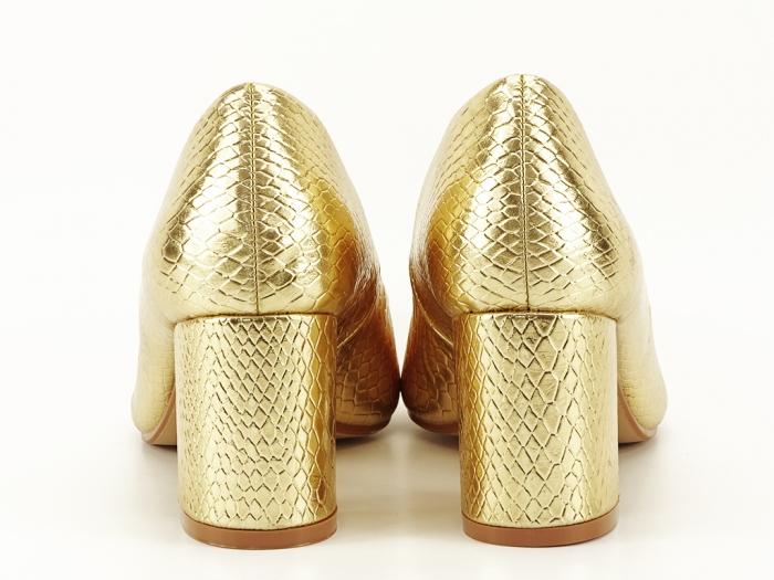 Pantofi aurii cu imprimeu de sarpe Ami 6
