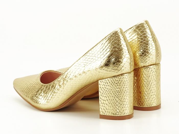 Pantofi aurii cu imprimeu de sarpe Ami 5