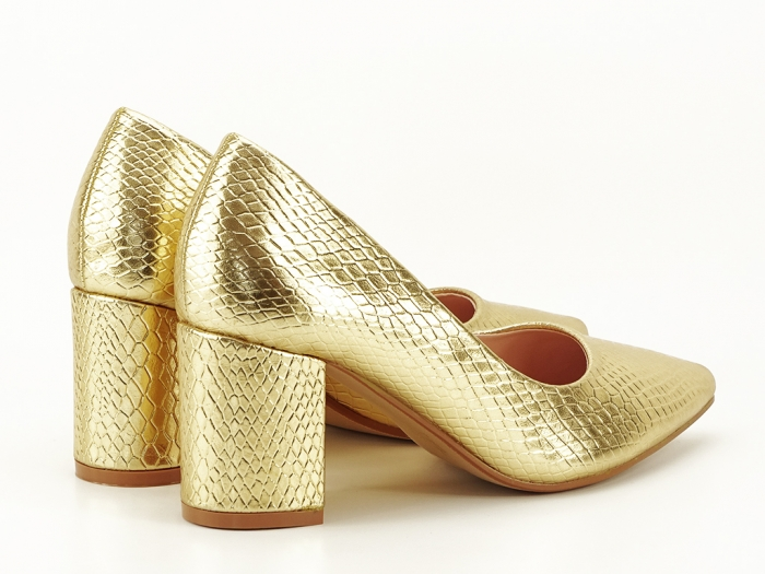 Pantofi aurii cu imprimeu de sarpe Ami 7