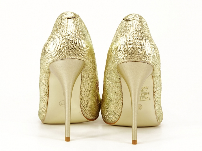 Pantofi eleganti aurii stiletto cu toc foarte inalt Ingrid 4