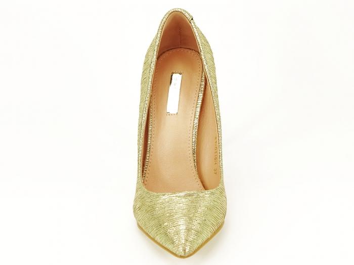 Pantofi eleganti aurii stiletto cu toc foarte inalt Ingrid 5