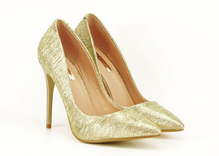 Pantofi eleganti aurii stiletto cu toc foarte inalt Ingrid 1