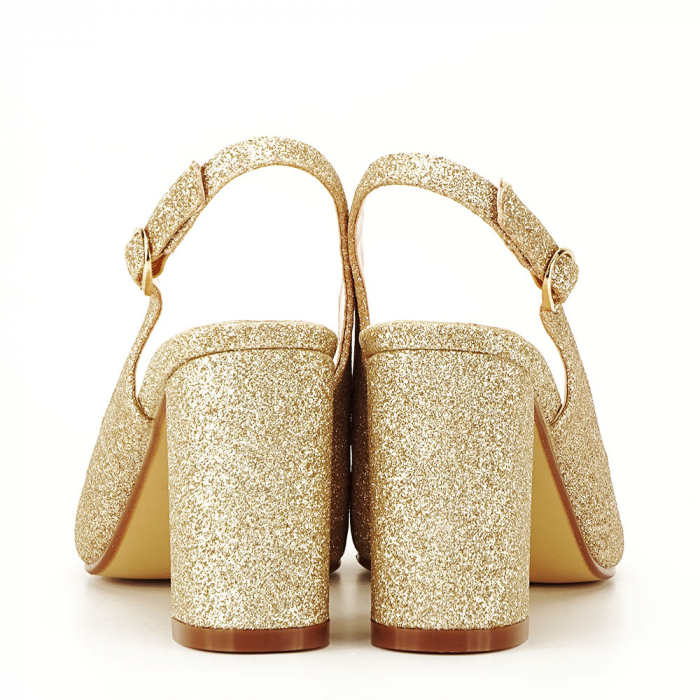 Pantofi aurii decupati Pamela 4