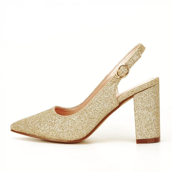 Pantofi aurii decupati Pamela 0