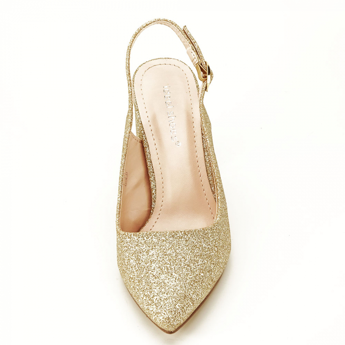 Pantofi aurii decupati Pamela 3