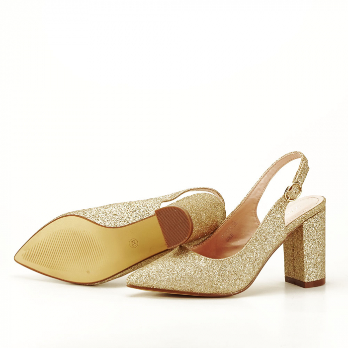 Pantofi aurii decupati Pamela 5
