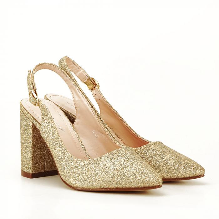 Pantofi aurii decupati Pamela 6
