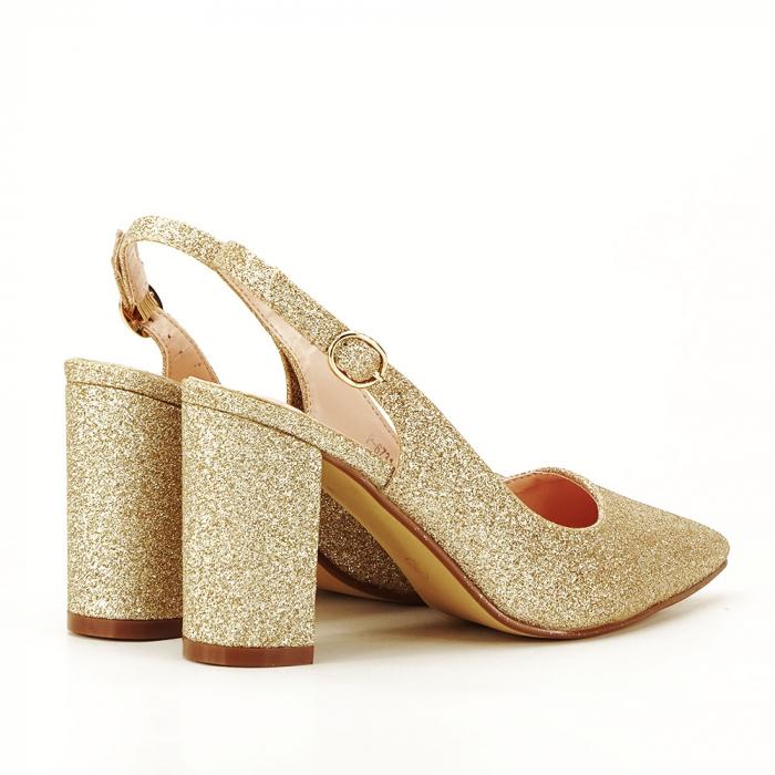 Pantofi aurii decupati Pamela 1