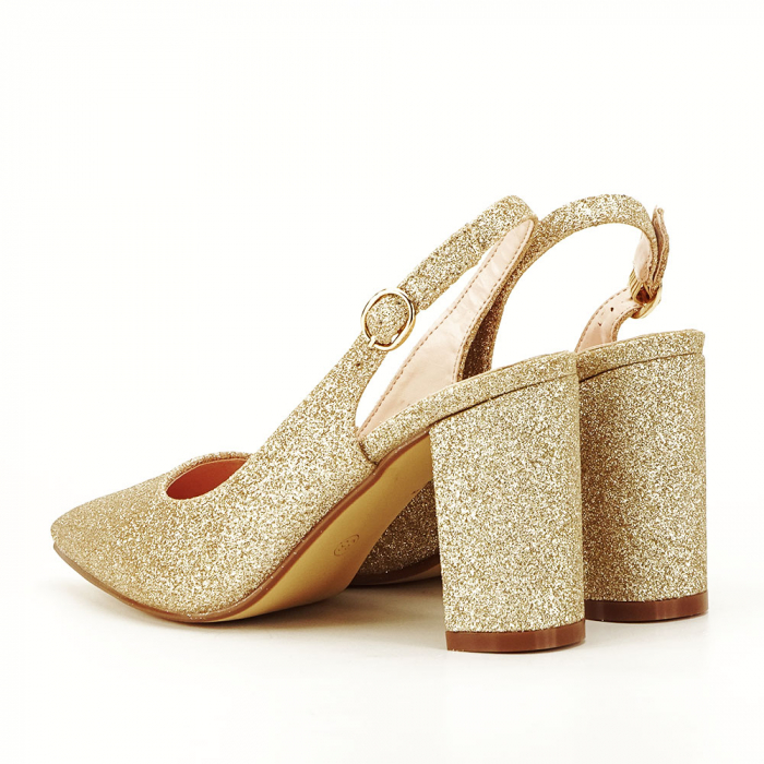 Pantofi aurii decupati Pamela 2