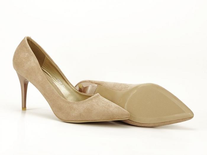 Pantofi aurii cu toc mediu Freya 7