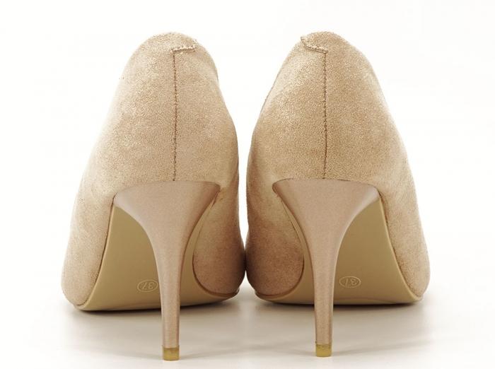 Pantofi aurii cu toc mediu Freya 3